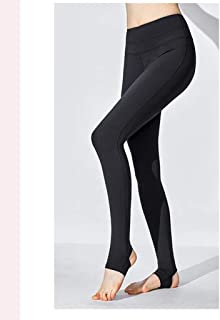 HXLG Womens Yoga Pants for, Tummy Control, Workout Leggings Solid Color Step Foot Leggings (Color : Black, Size : M)