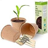 Macetas redondas de fibra biodegradable para plantar, macetas pequeñas de fibra para decoración, macetas de semillas para interior y exterior y con palitos de madera para etiquetar - (Paquete de 100)
