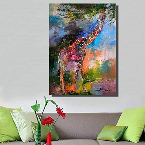 SYLSBAZGYS Pinturas de Jirafas de Bellas Artes en Lienzo para la decoración del Dormitorio de la Sala de Estar Carteles e Impresiones de pared-60x80cm Rollo de Lienzo