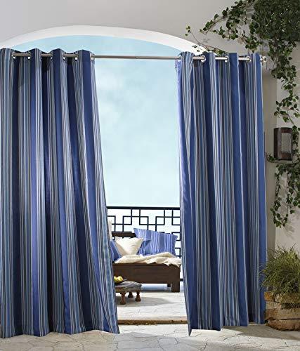 extérieur Décor Tonnelle à Rayures Intérieur Extérieur Panneaux de fenêtres, 50 par 84, Bleu