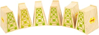 Bigjigs Rail High Level Blocks (Pack of 6) - Other Major Wooden Rail Brands are Compatible
