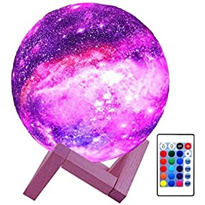 Celavisse Modern 3D Printing Star Moon Galaxy Led Light Lamp Night 16 Color Change Touch Remote Control with Wood Stand for Living Room Bedside Table Office Desk Desktop Home Decor Gift Item