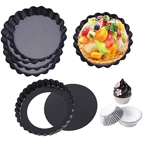 PQZATX10個3.9インチ直径ノンスティックキッシュパン取り外し可能な丸いタルト型ケーキ型パン、ルーズボトム付き