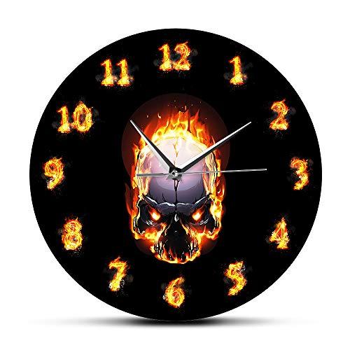 xinxin Reloj de Pared Demon Skull In Fire con números ardientes Reloj de Pared Moderno Heavy Metal Flaming Hell Death Skull Reloj de Pared Halloween Horror Art For Office School Kids Room