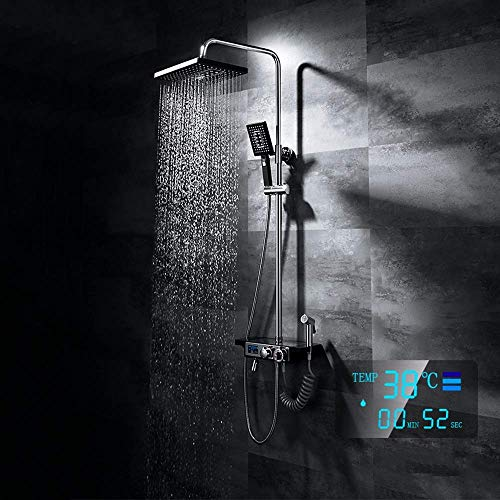 YINGGEXU Juego de Ducha Digital Inteligente Digital Juego de Ducha Termostático Rack Top Large Spray Spray Sistema de Ducha Latón Ducha Grifo 7 Modos Negro Hogar Lift Durable