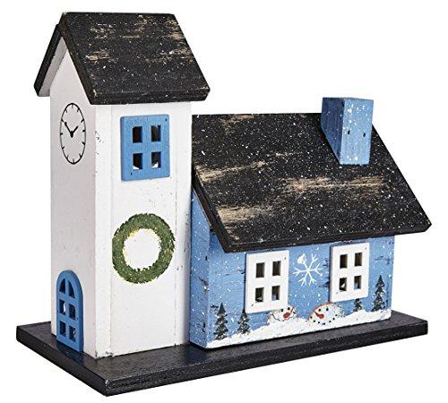 LED Holzhaus Weihnachtshaus Church Kirche Teelicht Batteriebetrieb ca. 17,5 x 19,5 x 10,5 cm (HxBxT)