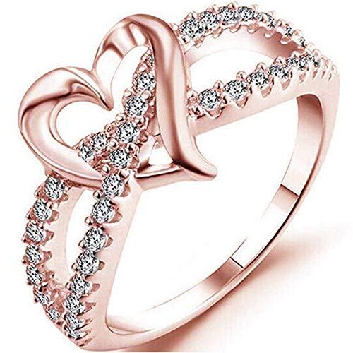 Jude Jewelers - Anillo chapado en plata con forma de corazón dividido