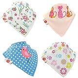 Ziggle bambino bandana dribble bavaglini, assorbente eccellente, adatto appena nato al bambino, premiato, 4 pack (cool girls)