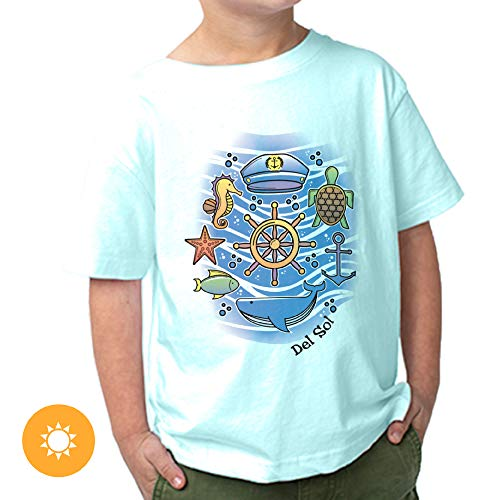 Del Sol Toddler Boys Crew Tee - Sea Adventure, Chill Blue T-Shirt - Changes from Black to Vibrant Colors in The Sun - 100% Combed, Ring-Spun Cotton, Fine Jersey, Relaxed Fit - Size 3T