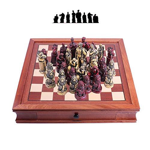 Juego de ajedrez Staunton Chess, 42 42,8 cm, Regalo para niños con estimula tu Cerebro, ejercita tu Mente, Tablero de ajedrez de Madera con Resina Ch, portátil para Adultos, Juegos para niños, Trave