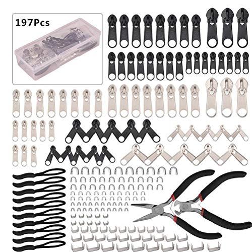 Sanfiyya Cremallera Herramientas de reparación de reemplazo tirones Rescue Kit Sliders Cremalleras de Metal para Las Maletas Chaquetas Bolsas 197 PCS DIY Regalo