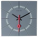 Nextime STAZIONE - Reloj de Pared (Cuadrado, 35 x 35 cm), Color Gris
