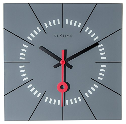 NeXtime Wall Clock STAZIONE, Very Silent, Square, Made of Glass, Grey, 35 x 35 cm