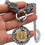 AMOZ Collar Vikingo para Hombre, Cabeza de Lobo Nórdico Odin 's Ravens Runic Irish Talisman Coin Accessories Antiguo Spinning Colgante de Acero Inoxidable King Round Chain Gift, Aa, 50,C.A,50