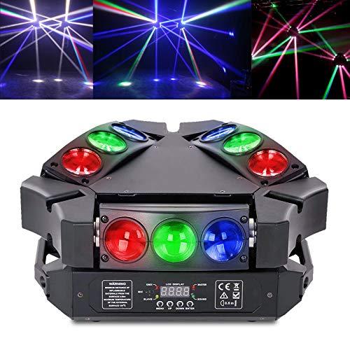 Teste Mobili LED,Spider Spot Mini LED 9x3W Lampada RGB Light DMX controllo Effetto DJ Luce per Discoteca Club Bar-Party Band