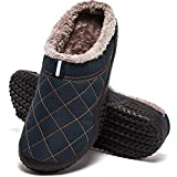 HOBIBEAR Men's Slip-on Water Resistant House Slippers Plus Size Closed Toe Anti-Skid Home Shoes Indoor Outdoor Winter Blue
