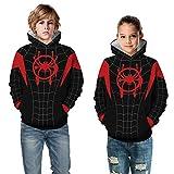 Leezeshaw - Sudadera con capucha para niños 3D Spider-Man Miles Morales con capucha para niños 4-11T
