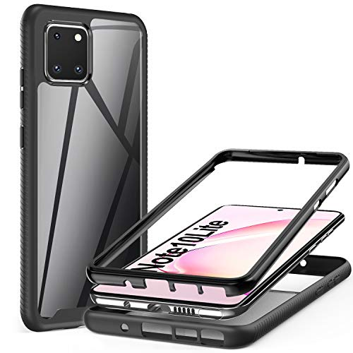 AROYI Coque Samsung Galaxy Note 10 Lite/Galaxy A81,Transparente Silicone Bumper Housse TPU+PC Antichoc Double Protecteur Case pour Samsung Galaxy Note 10 Lite/Galaxy A81 Noir