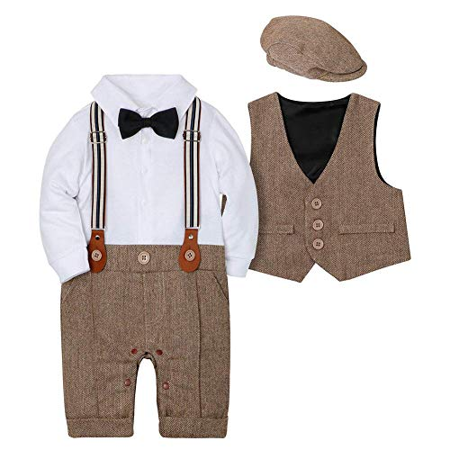 Amissz Baby Jungen Bekleidungssets 3tlg Strampler + Weste + Hut Fliege Krawatte Gentleman Set Baby Taufe Anzug