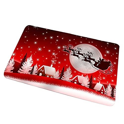 Pilvnar Alfombrillas Decorativas navideñas para Puerta, Felpudo navideño para Puerta de casa, Alfombra Impresa, Antideslizante Patrón navideño, Dormitorio, Sala de Estar, Alfombra de Cocina y baño.