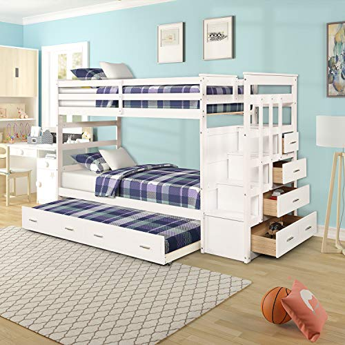 Twin Over Twin Bunk Bed with Trundle and Staircase, WeYoung Solid Wood Bunk Bed Frame with Storage Drawers No Box Spring Needed (White)