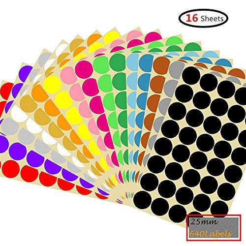 Runde Punkt-Aufkleber,25mm Selbstklebende farbige Punkte 2640 Kleine runde Aufkleber 16 Farben für Büro, Schule, Kalender, Karten-Aufkleber