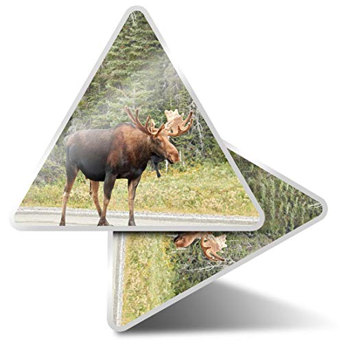 2 x Triangle Stickers 10cm - Moose Canada Canadian Rocky Mountains Fun Decals for Laptops,Tablets,Luggage,Scrap Booking,Fridges,Cool Gift #45783