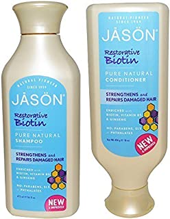 JASON All Natural Organic Biotin Shampoo and Conditioner For Hair Growth and Stopping Hair Loss 16 fl. oz. each, Packaging may vary