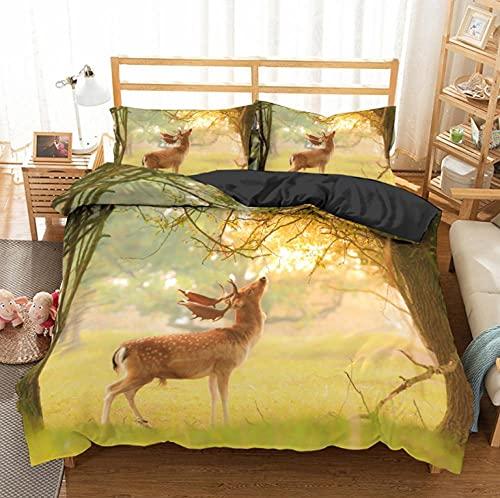 Bettwäsche 155 x 220 cm 3D Sika Rotwild Druck Bettbezug Set 3 teilig Bettwäsche Set Bettbezug Weiche Microfaser Hypoallergen mit Reißverschluss und 2 Kissenbezüge 80 x 80 cm