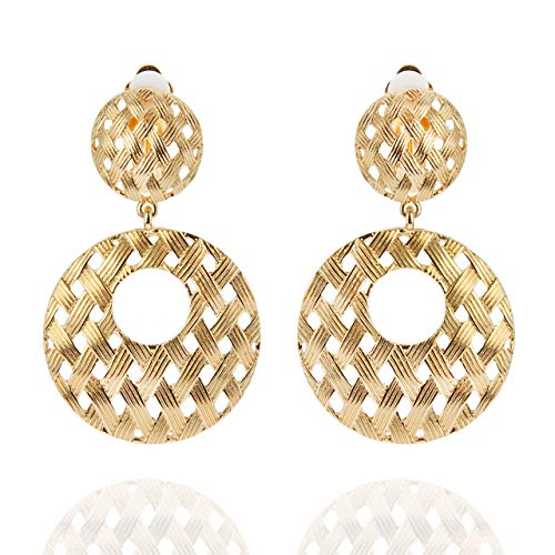 SP Sophia Collection Women's Elegant Basket Weave Round Gold Tone Drop Clip On Earrings