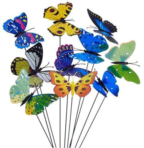 24 Pcs Colorful Garden Butterflies Stakes Patio Butterfly Ornaments on Sticks Metal Wire Plant Stake Flower Pot Bed for Outdoor Party Yard Garden Decorations