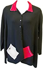 product image for Margaret Winters Women's Shirt Collar Cardie Black Red Natural