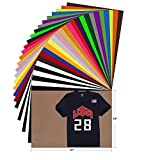 YRYM HT HTV Heat Transfer Vinyl Bundle - 28 Pack 12'x10' Assorted Color Sheets for Cricut Silhouette Cameo or Other Heat Press Machine - Iron On Vinyl for T-Shirts Clothing Garment Easy to Weed