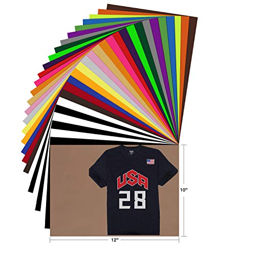 """HTV Heat Transfer Vinyl Bundle - 28 Pack 12""""x10"""" Assorted Color Sheets for Cricut Silhouette Cameo or Other Heat Press Machine - Iron On Vinyl for DIY T-Shirts Clothing Garment Easy to Weed by YRYM HT"""