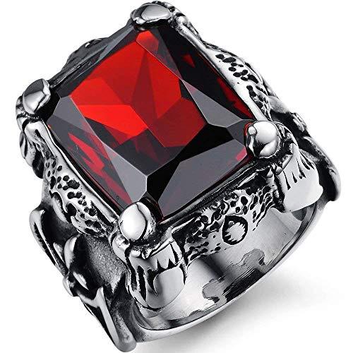 JIANLISP Anillo Flor Grande gótica de la Vendimia de Acero Inoxidable Rojo rubí Crystal Dragon Claw Caballero de la Cruz de los Hombres