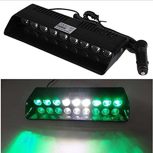 Viktion 6W 9 LEDs Feux de Pénétration Lumière Stroboscopique Eclairage Clignotant à 13 Modes pour Voiture Camion véhicule SUV DC 12V (Vert & Blanc)