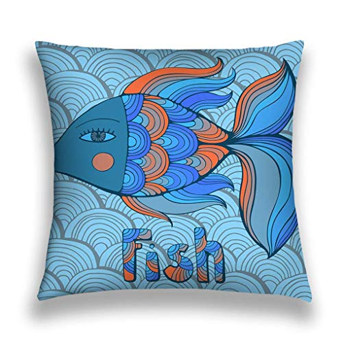 Throw Pillow Cushion Cover, Square Shaped, Decorative Square Accent Pillow Case,Multicolor Nice Cartoon Fishes Set Image Cute Creative