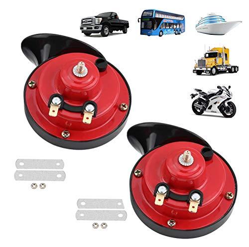 Yungeln 2er Universal Schneckenlufthorn 300db Lautes Horn 12V wasserdichtes Elektrische Horn kompatibel für LKW, Auto, Boot, Motorrad und Fahrrad - 2PCS