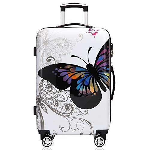 Deuba Butterfly Suitcase Hard Shell Luggage Set with Lock M L XL 360° Wheel Travel (L)