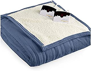 Pure Warmth by Biddeford MicroPlush Sherpa Electric Heated Blanket King Denim