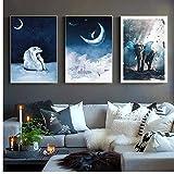 FRTTCYO Poster Winter Mond Landschaft Eisbär Poster und