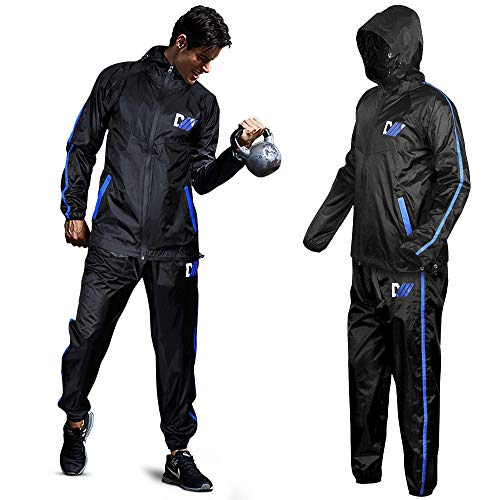 DMoose Hot Sweat Sauna Suit for Weight Loss, 2 Pc. Set, Top and Bottom Full Body Workout Wear for Women and Men, Supports Running, Cycling, (Black/Blue, Small)