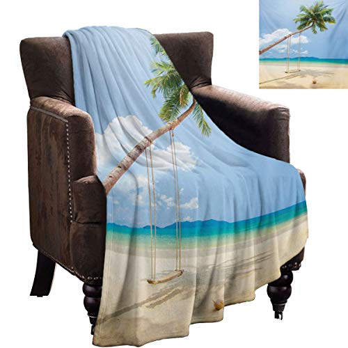 LanQiao Ocean Fleece Throw Blanket Photo of a Tropical Island with Coconuts Palm Trees and Swing Beach Exotic idea for Women 60'x36' Cream Blue Green