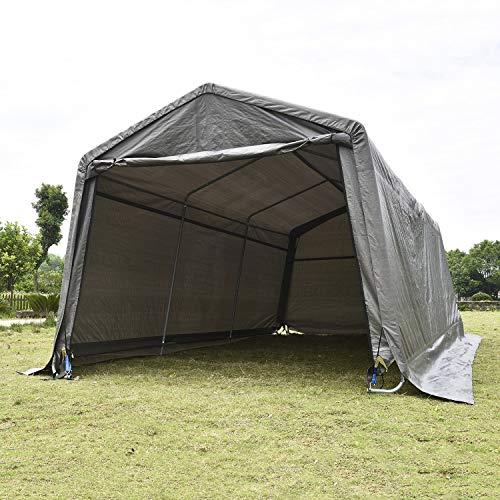 walnest Auto Storage Shelter Car Garage Steel Heavy Duty Carport Canopy Metal Frame Tent Waterproof (10×20×8ft, Gray)