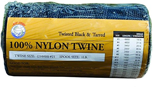 Joy Fisch tntb-12schwarz & tarred Twisted Nylon Bindfäden 1LB Spule SZ 12
