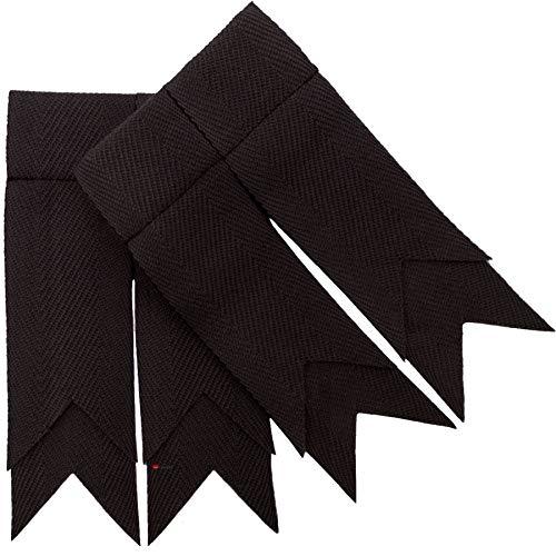Mens Kilt Flashes Double Garter Pure Wool Black Plain