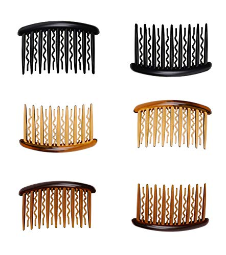 Royee 6 Pcs Hair Side Combs Plastic Black Brown Vintage French Styling Small Hairpin Clip Teeth Tortoise Hair Accessories for Women Girls Long Curly Hair