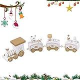 WELLXUNK Tren De Navidad,4 Piezas Tren De Navidad para Arbol, El Juguete Navideño Regalar, Decoración Vintage, con Mini Papa Noel y Regalos a Bordo (Blanco)