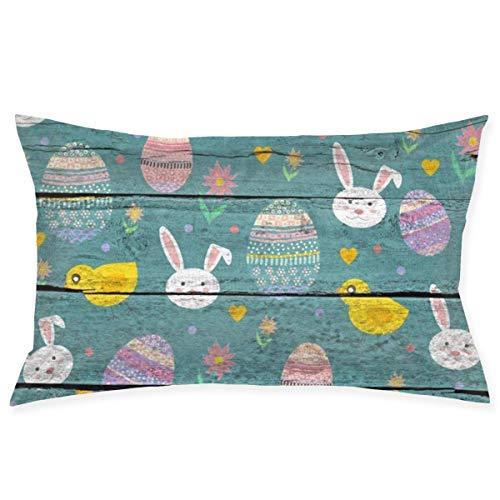 N/A - Funda de almohada cuadrada de terciopelo suave y decorativa para salón, sofá, dormitorio, 35 cm x 50 cm, conejito de Pascua con huevos de colores