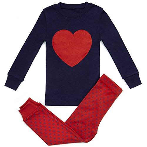 Girls Pajamas HEART LOVE 2 RED Piece 100% Super Soft Cotton 4Y
